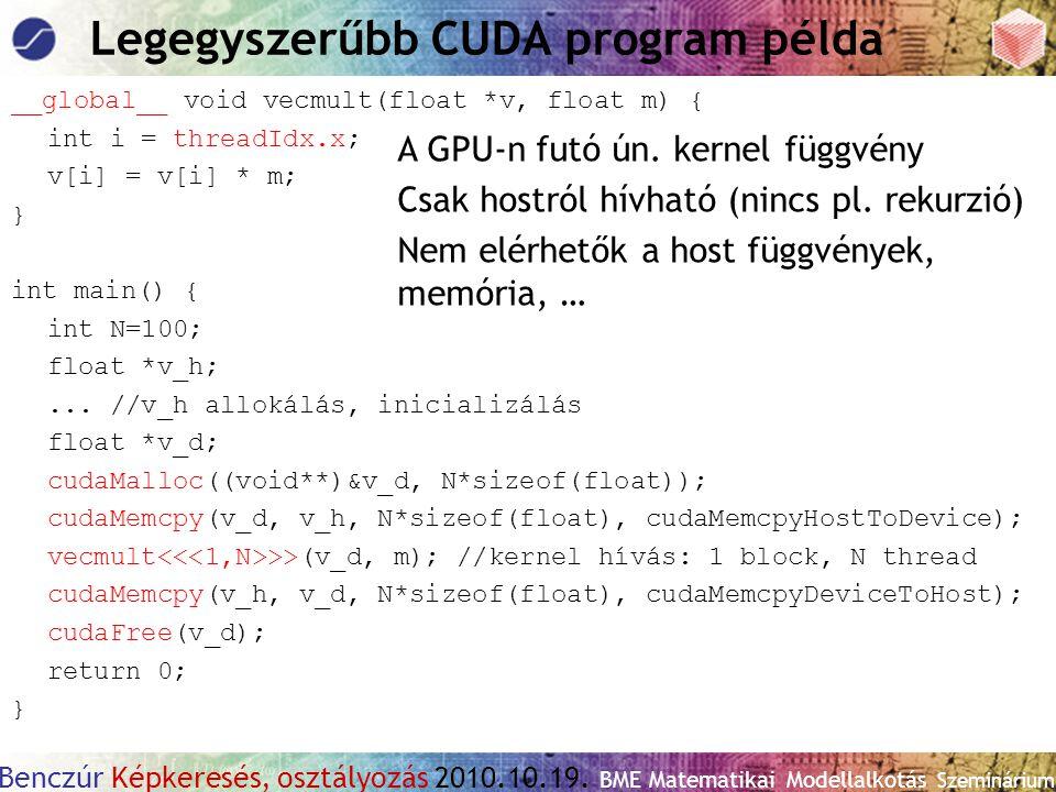 Benczúr Képkeresés, osztályozás 2010.10.19. BME Matematikai Modellalkotás Szeminárium Legegyszerűbb CUDA program példa __global__ void vecmult(float *