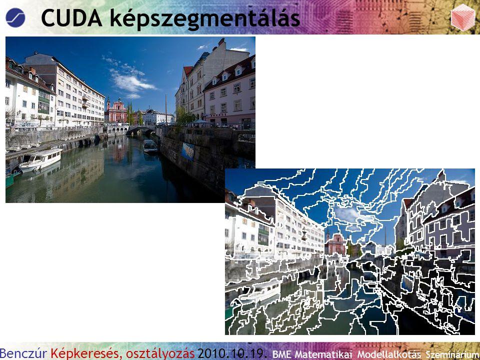 Benczúr Képkeresés, osztályozás 2010.10.19. BME Matematikai Modellalkotás Szeminárium CUDA képszegmentálás