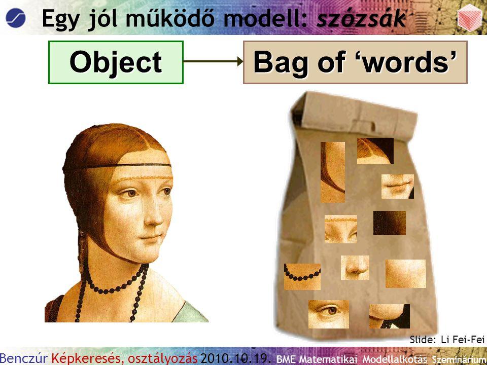 Benczúr Képkeresés, osztályozás 2010.10.19. BME Matematikai Modellalkotás Szeminárium Object Bag of 'words' szózsák Egy jól működő modell: szózsák Sli