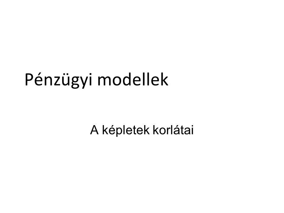 Pénzügyi modellek A képletek korlátai