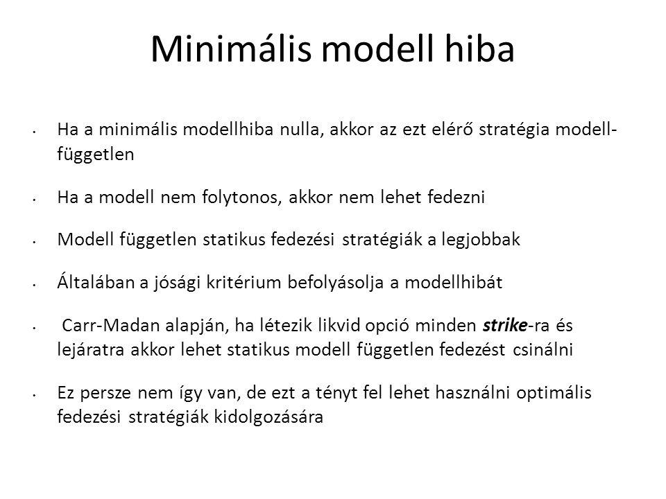 Minimális modell hiba Ha a minimális modellhiba nulla, akkor az ezt elérő stratégia modell- független Ha a modell nem folytonos, akkor nem lehet fedezni Modell független statikus fedezési stratégiák a legjobbak Általában a jósági kritérium befolyásolja a modellhibát Carr-Madan alapján, ha létezik likvid opció minden strike-ra és lejáratra akkor lehet statikus modell független fedezést csinálni Ez persze nem így van, de ezt a tényt fel lehet használni optimális fedezési stratégiák kidolgozására