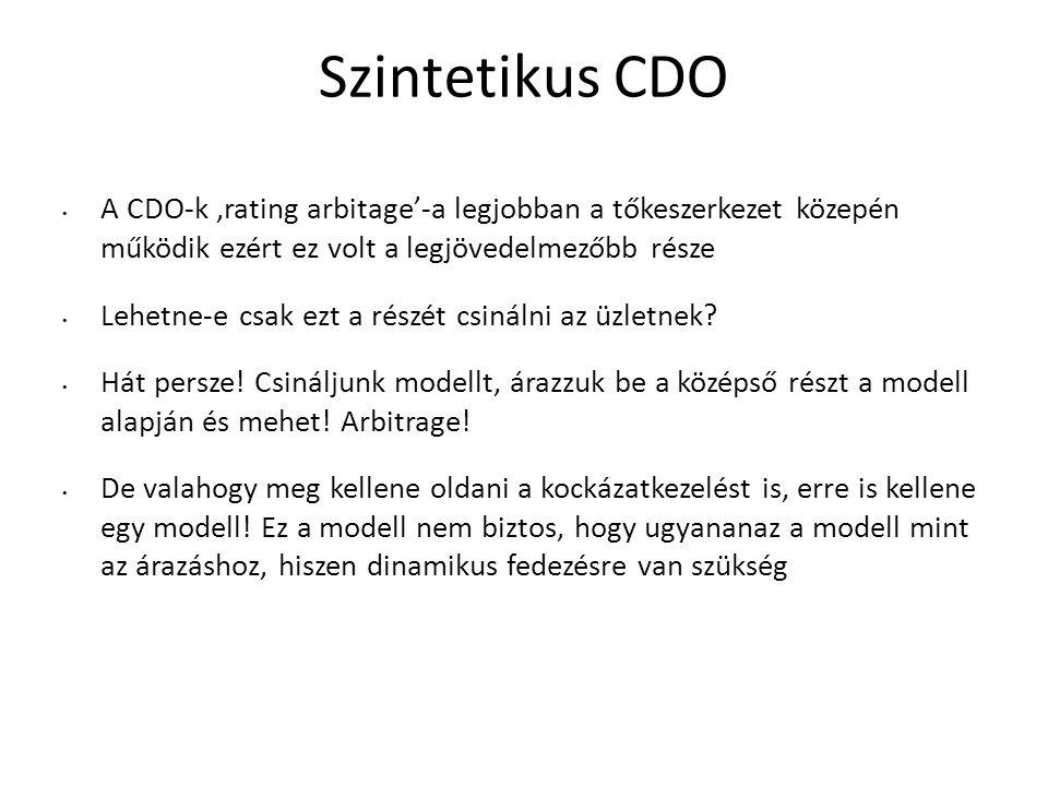Szintetikus CDO A CDO-k 'rating arbitage'-a legjobban a tőkeszerkezet közepén működik ezért ez volt a legjövedelmezőbb része Lehetne-e csak ezt a részét csinálni az üzletnek.