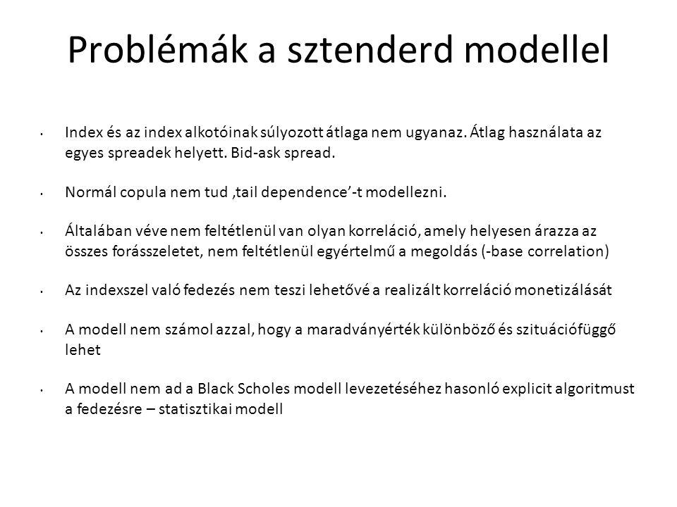 Problémák a sztenderd modellel Index és az index alkotóinak súlyozott átlaga nem ugyanaz.