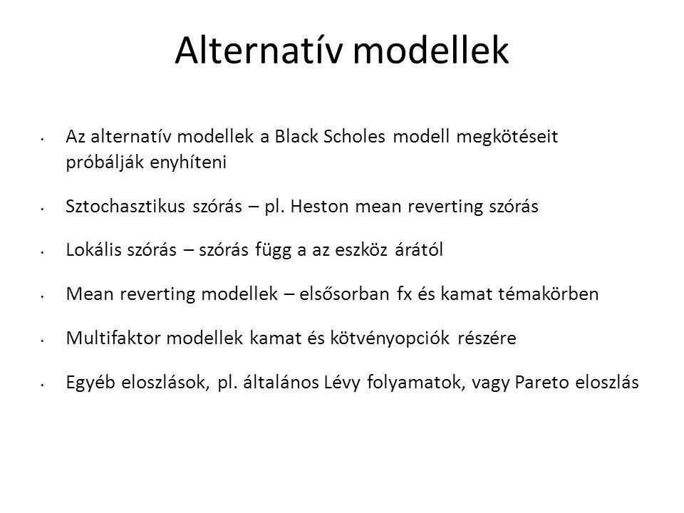 Alternatív modellek Az alternatív modellek a Black Scholes modell megkötéseit próbálják enyhíteni Sztochasztikus szórás – pl.