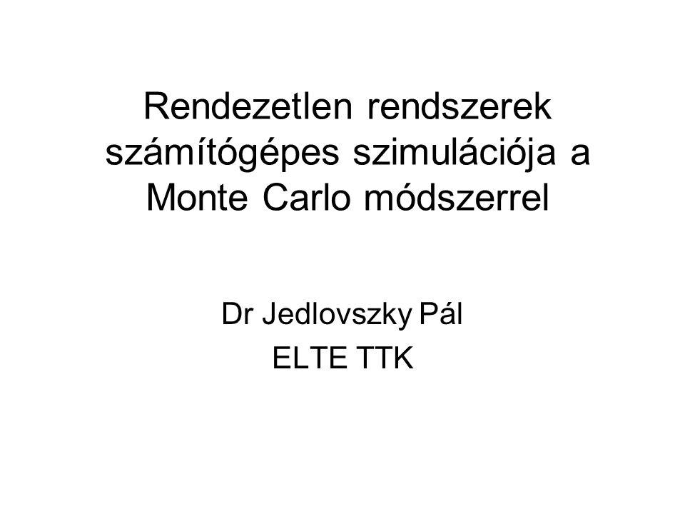 Rendezetlen rendszerek számítógépes szimulációja a Monte Carlo módszerrel Dr Jedlovszky Pál ELTE TTK