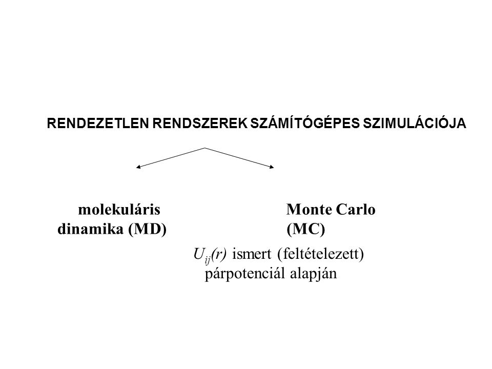 RENDEZETLEN RENDSZEREK SZÁMÍTÓGÉPES SZIMULÁCIÓJA molekuláris dinamika (MD) Monte Carlo (MC) U ij (r) ismert (feltételezett) párpotenciál alapján