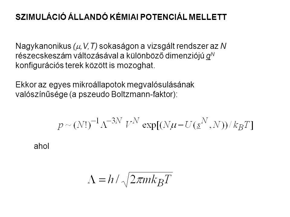 SZIMULÁCIÓ ÁLLANDÓ KÉMIAI POTENCIÁL MELLETT Nagykanonikus ( ,V,T) sokaságon a vizsgált rendszer az N részecskeszám változásával a különböző dimenziój