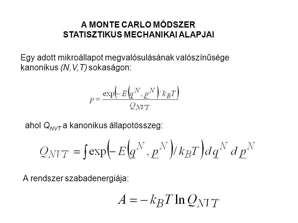 A MONTE CARLO MÓDSZER STATISZTIKUS MECHANIKAI ALAPJAI Egy adott mikroállapot megvalósulásának valószínűsége kanonikus (N,V,T) sokaságon: ahol Q NVT a