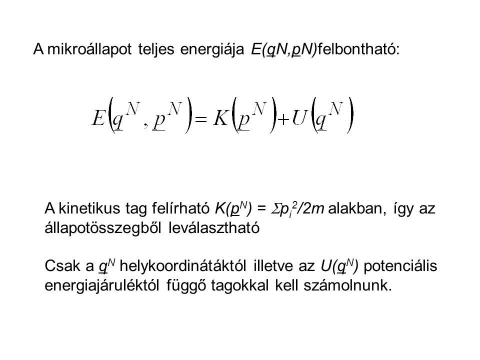A kinetikus tag felírható K(p N ) =  p i 2 /2m alakban, így az állapotösszegből leválasztható Csak a q N helykoordinátáktól illetve az U(q N ) potenc