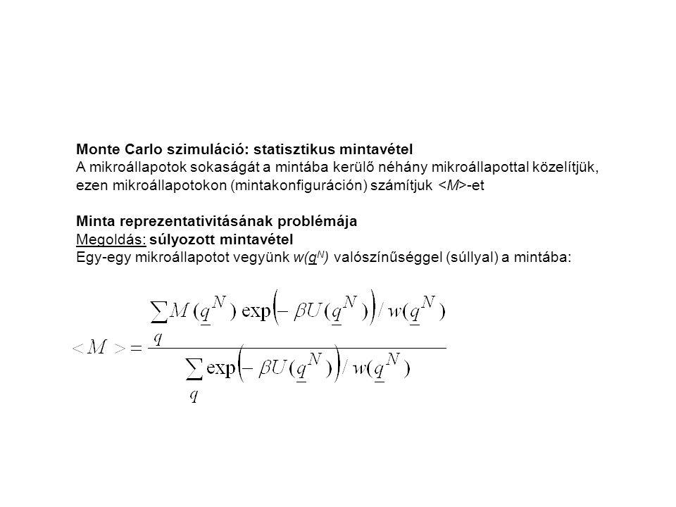 Monte Carlo szimuláció: statisztikus mintavétel A mikroállapotok sokaságát a mintába kerülő néhány mikroállapottal közelítjük, ezen mikroállapotokon (