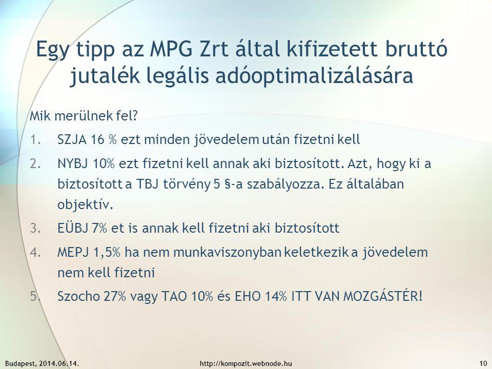 Egy tipp az MPG Zrt által kifizetett bruttó jutalék legális adóoptimalizálására Mik merülnek fel? 1.SZJA 16 % ezt minden jövedelem után fizetni kell 2