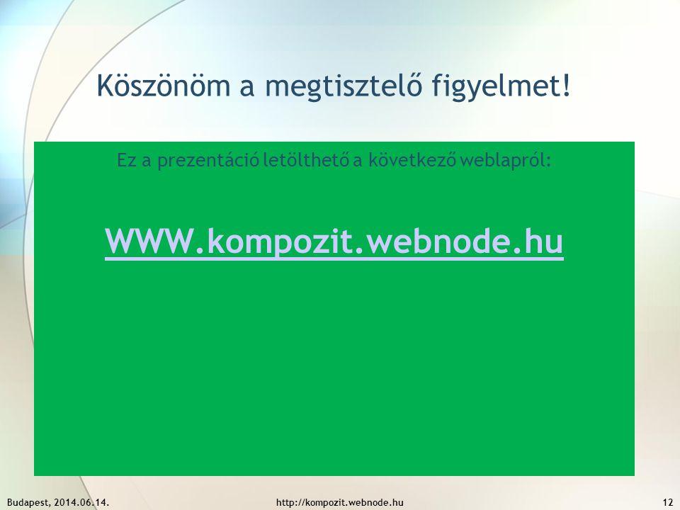 Köszönöm a megtisztelő figyelmet! Ez a prezentáció letölthető a következő weblapról: WWW.kompozit.webnode.hu Budapest, 2014.06.14.http://kompozit.webn
