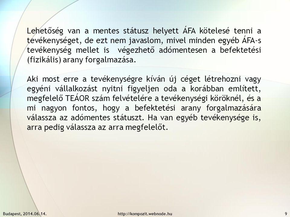 Budapest, 2014.06.14.http://kompozit.webnode.hu9 Lehetőség van a mentes státusz helyett ÁFA kötelesé tenni a tevékenységet, de ezt nem javaslom, mivel