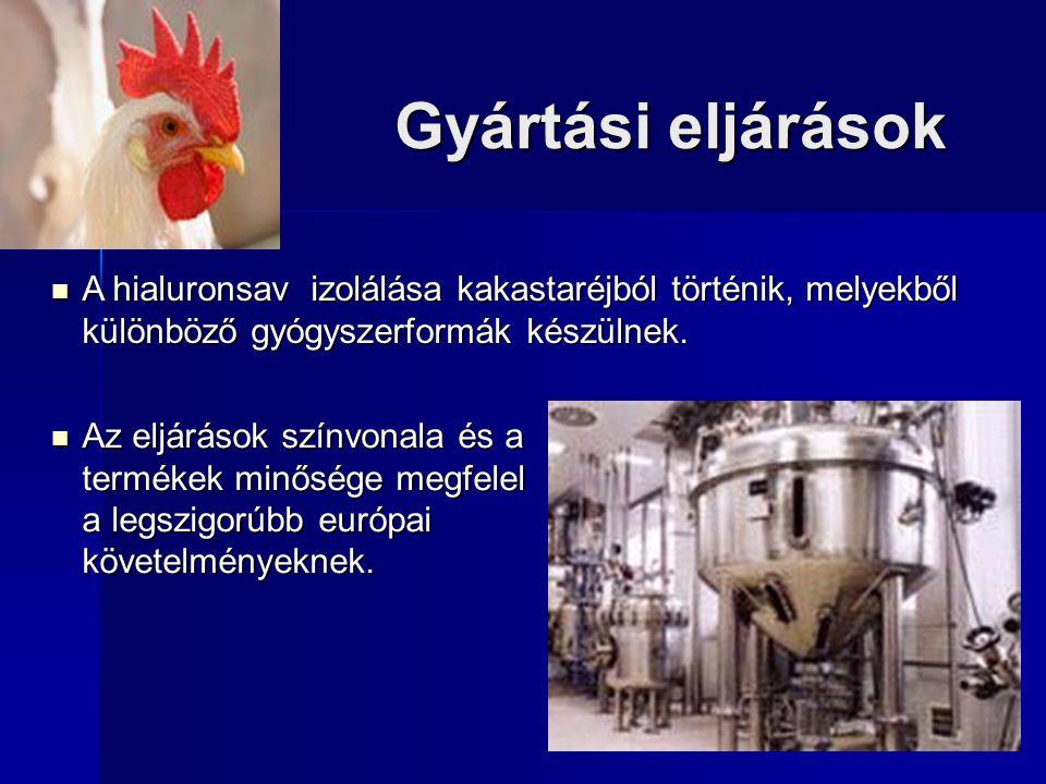 Gyártási eljárások A hialuronsav izolálása kakastaréjból történik, melyekből különböző gyógyszerformák készülnek. A hialuronsav izolálása kakastaréjbó