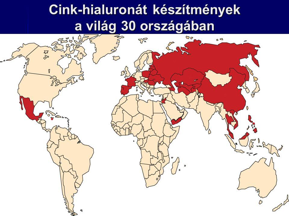 Cink-hialuronát készítmények a világ 30 országában