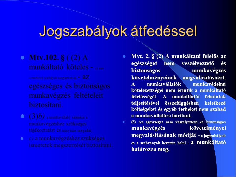 Jogszabályok átfedéssel Mtv.102. § ( (2) A munkáltató köteles - az erre vonatkozó szabályok megtartásával - az egészséges és biztonságos munkavégzés f
