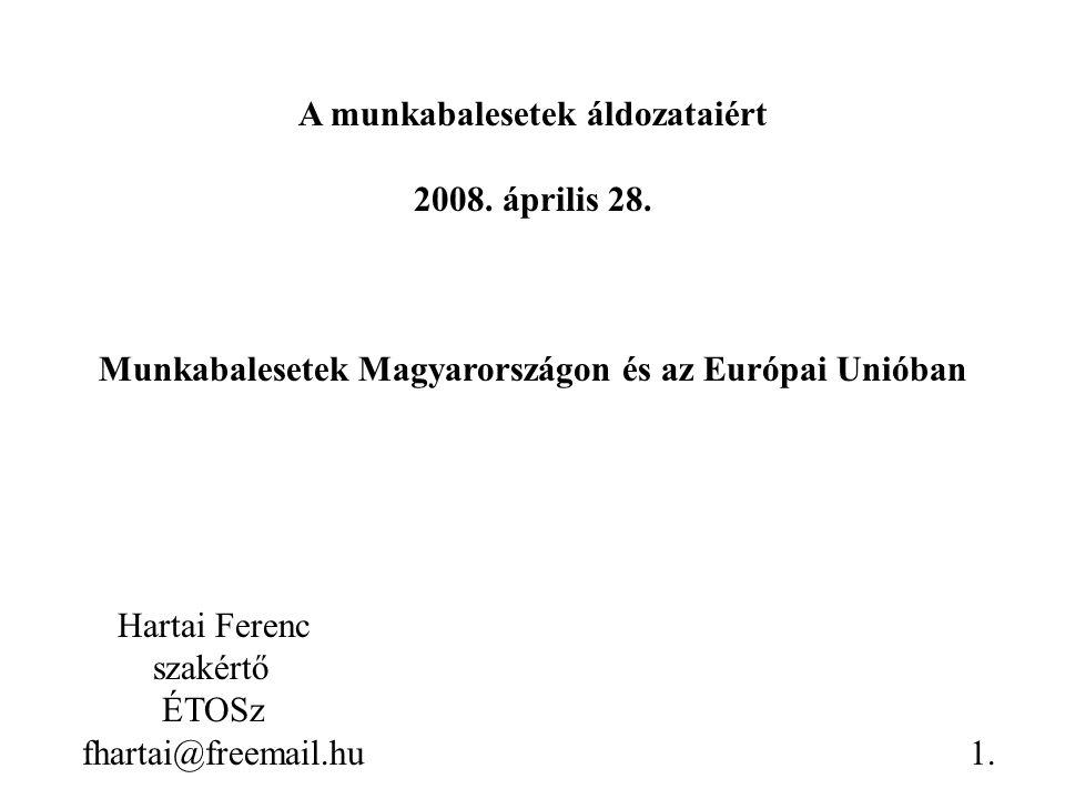 A munkabalesetek áldozataiért 2008. április 28. Munkabalesetek Magyarországon és az Európai Unióban Hartai Ferenc szakértő ÉTOSz fhartai@freemail.hu1.