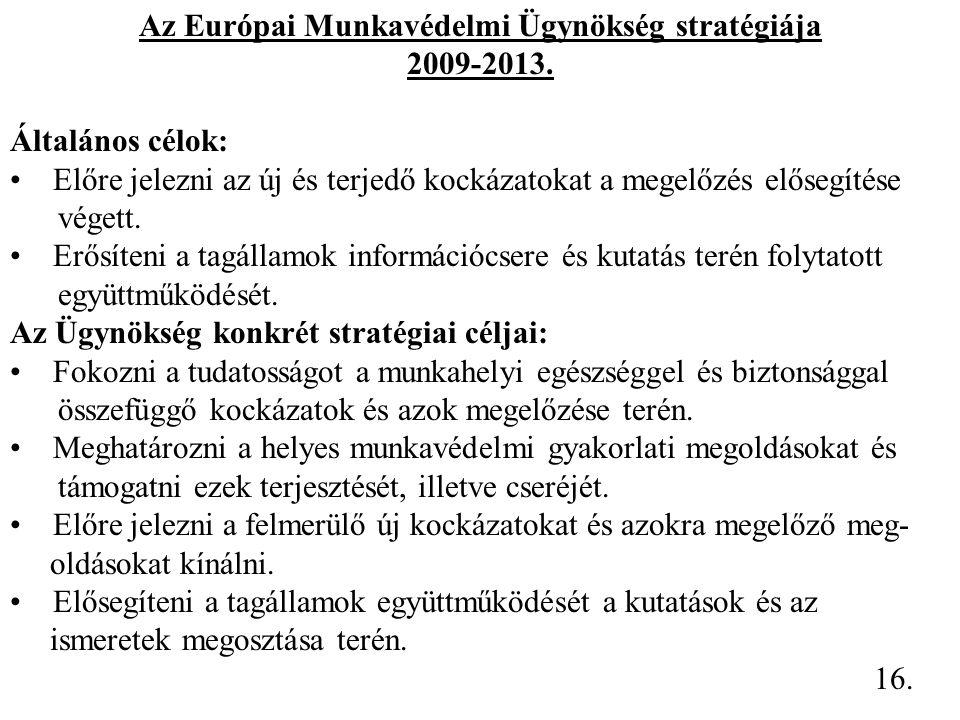 Az Európai Munkavédelmi Ügynökség stratégiája 2009-2013. Általános célok: Előre jelezni az új és terjedő kockázatokat a megelőzés elősegítése végett.