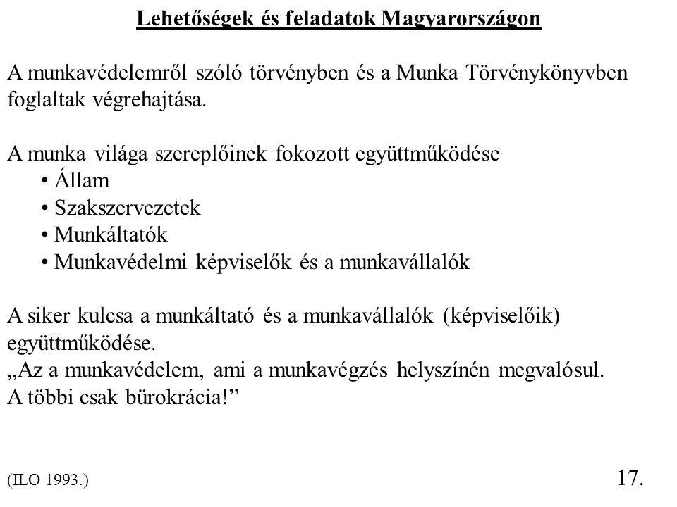 Lehetőségek és feladatok Magyarországon A munkavédelemről szóló törvényben és a Munka Törvénykönyvben foglaltak végrehajtása. A munka világa szereplői