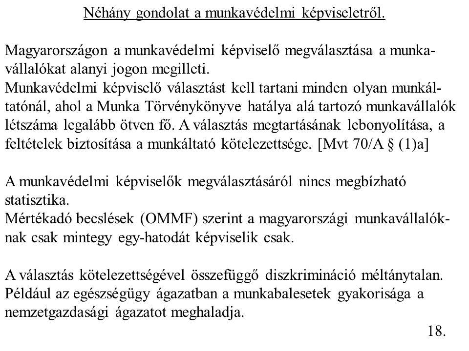 Néhány gondolat a munkavédelmi képviseletről. Magyarországon a munkavédelmi képviselő megválasztása a munka- vállalókat alanyi jogon megilleti. Munkav
