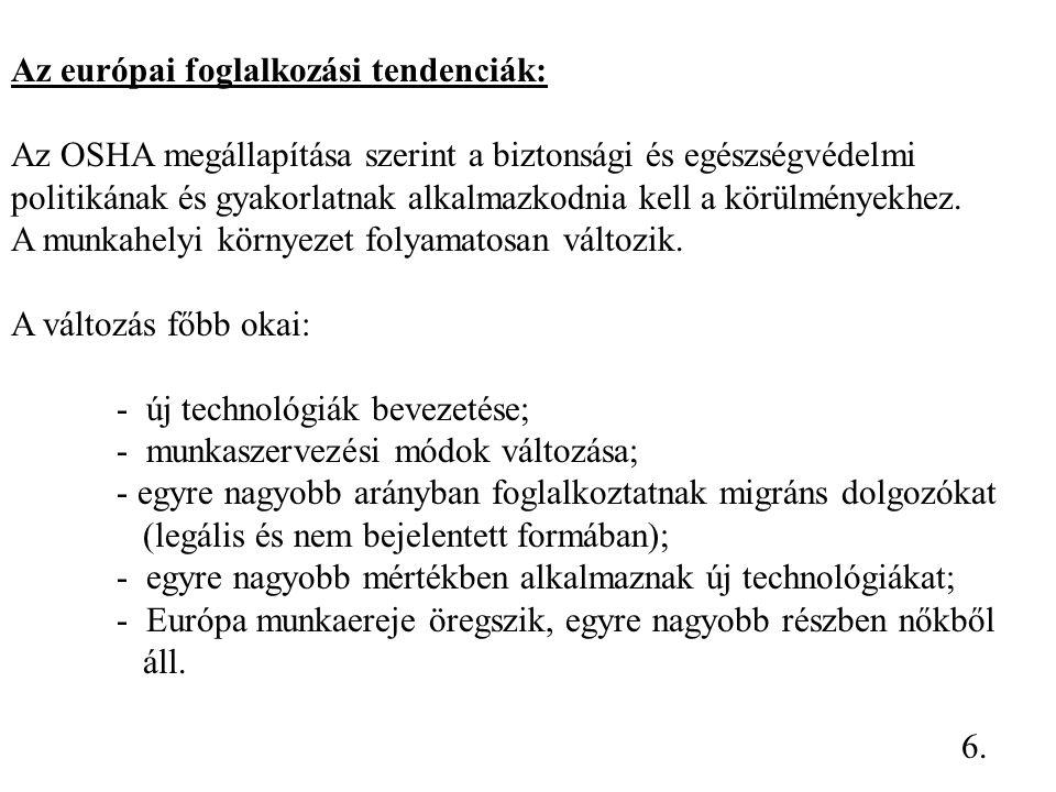 Lehetőségek és feladatok Magyarországon A munkavédelemről szóló törvényben és a Munka Törvénykönyvben foglaltak végrehajtása.