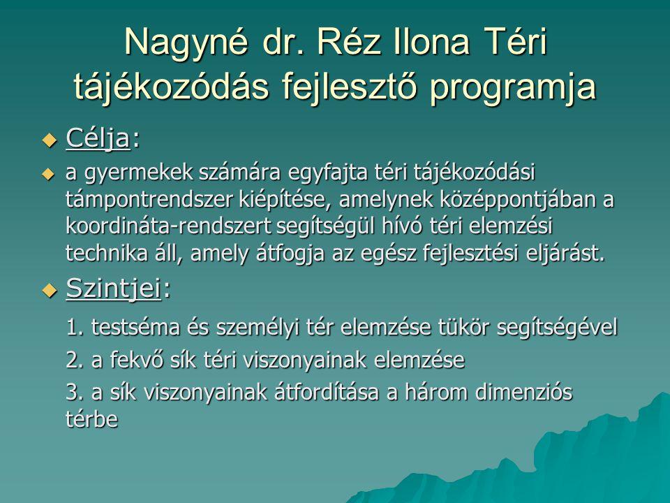 Nagyné dr. Réz Ilona Téri tájékozódás fejlesztő programja  Célja:  a gyermekek számára egyfajta téri tájékozódási támpontrendszer kiépítése, amelyne