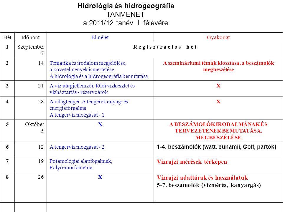 Általános tájékoztató a Hidrológia és hidrogeográfia kollégiumhoz 2010/11 I.félév Félévi óraterv: HétIdőpontElméletGyakorlat 1Szeptember 7 R e g i s z