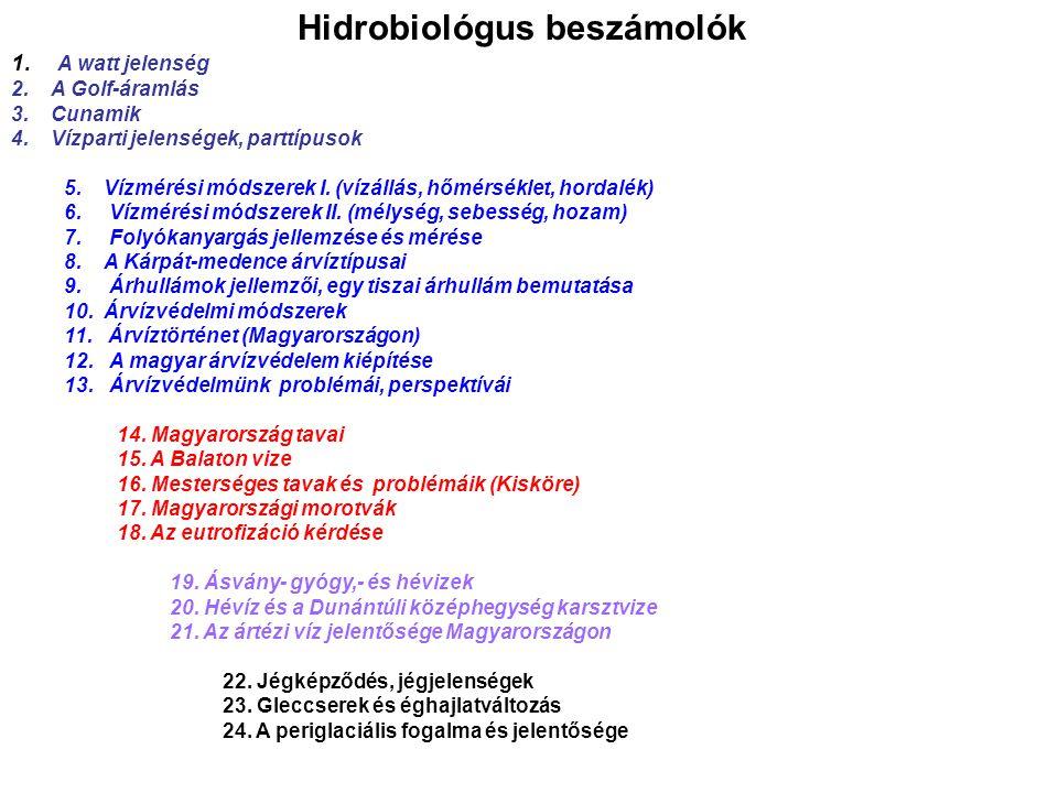 Hidrobiológus beszámolók 1. A watt jelenség 2.A Golf-áramlás 3.Cunamik 4.Vízparti jelenségek, parttípusok 5.Vízmérési módszerek I. (vízállás, hőmérsék