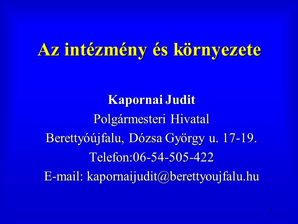 1 Az intézmény és környezete Kapornai Judit Polgármesteri Hivatal Berettyóújfalu, Dózsa György u. 17-19. Telefon:06-54-505-422 E-mail: kapornaijudit@b