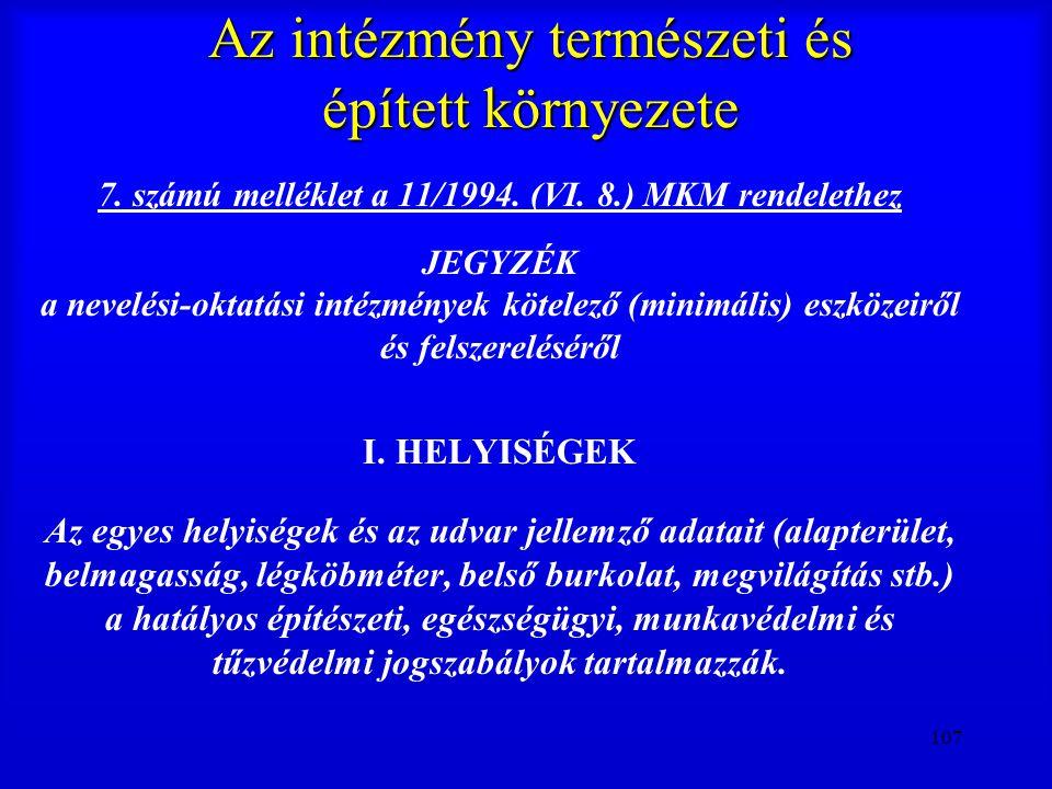 107 Az intézmény természeti és épített környezete 7. számú melléklet a 11/1994. (VI. 8.) MKM rendelethez JEGYZÉK a nevelési-oktatási intézmények kötel