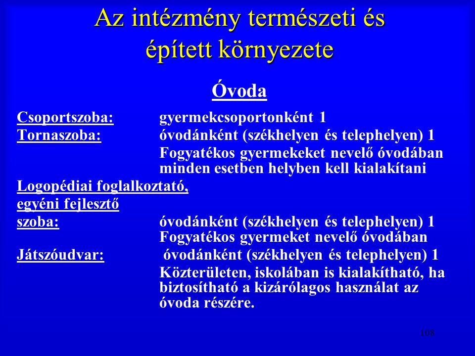 108 Az intézmény természeti és épített környezete Óvoda Csoportszoba:gyermekcsoportonként 1 Tornaszoba:óvodánként (székhelyen és telephelyen) 1 Fogyat
