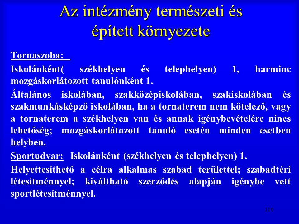 116 Az intézmény természeti és épített környezete Tornaszoba: Iskolánként( székhelyen és telephelyen) 1, harminc mozgáskorlátozott tanulónként 1. Álta