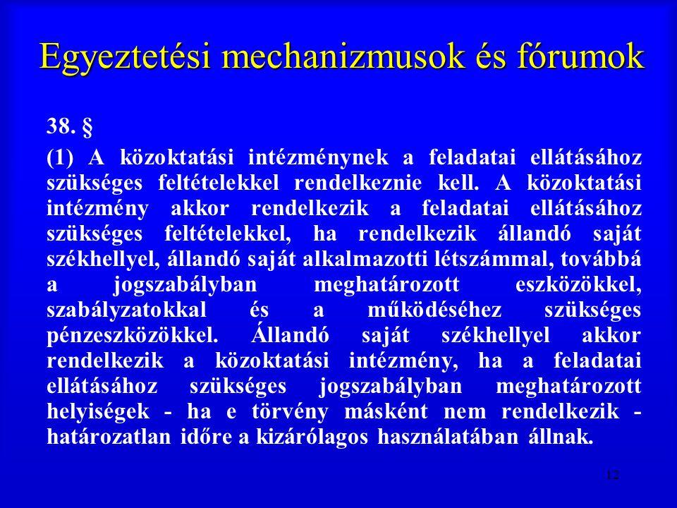12 Egyeztetési mechanizmusok és fórumok 38. § (1) A közoktatási intézménynek a feladatai ellátásához szükséges feltételekkel rendelkeznie kell. A közo