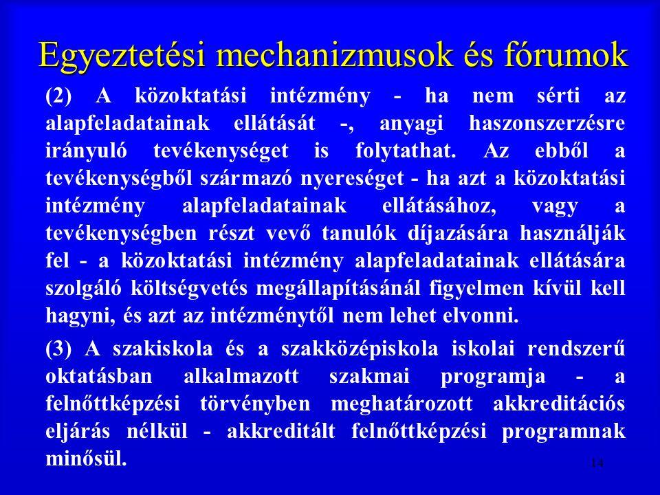 14 Egyeztetési mechanizmusok és fórumok (2) A közoktatási intézmény - ha nem sérti az alapfeladatainak ellátását -, anyagi haszonszerzésre irányuló te