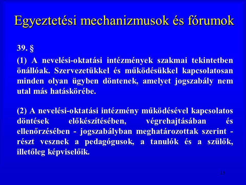 15 Egyeztetési mechanizmusok és fórumok 39. § (1) A nevelési-oktatási intézmények szakmai tekintetben önállóak. Szervezetükkel és működésükkel kapcsol