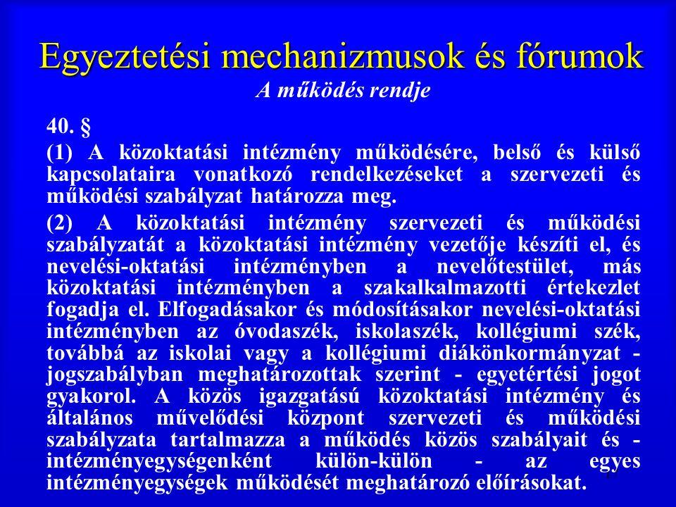 17 Egyeztetési mechanizmusok és fórumok A működés rendje 40. § (1) A közoktatási intézmény működésére, belső és külső kapcsolataira vonatkozó rendelke