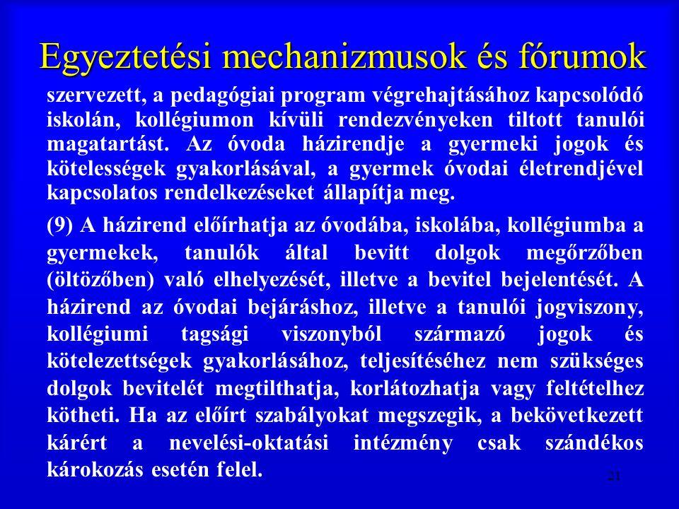 21 Egyeztetési mechanizmusok és fórumok szervezett, a pedagógiai program végrehajtásához kapcsolódó iskolán, kollégiumon kívüli rendezvényeken tiltott
