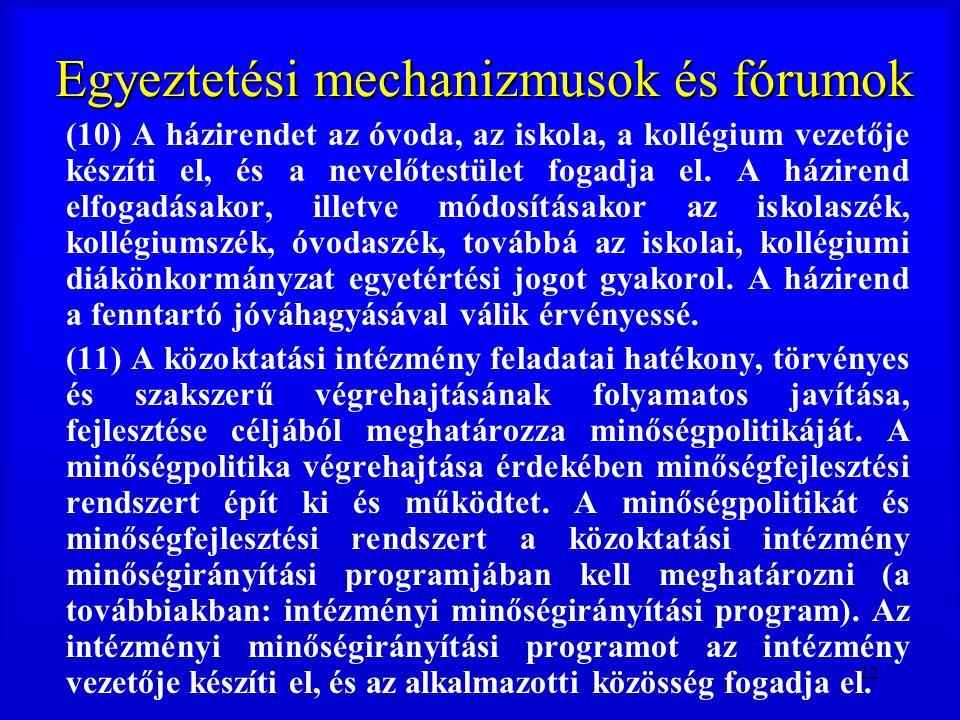 22 Egyeztetési mechanizmusok és fórumok (10) A házirendet az óvoda, az iskola, a kollégium vezetője készíti el, és a nevelőtestület fogadja el. A házi