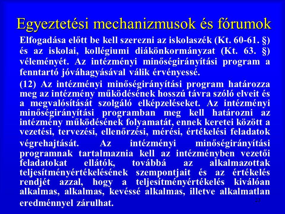 23 Egyeztetési mechanizmusok és fórumok Elfogadása előtt be kell szerezni az iskolaszék (Kt. 60-61. §) és az iskolai, kollégiumi diákönkormányzat (Kt.