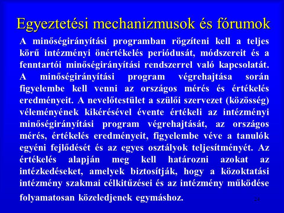 24 Egyeztetési mechanizmusok és fórumok A minőségirányítási programban rögzíteni kell a teljes körű intézményi önértékelés periódusát, módszereit és a