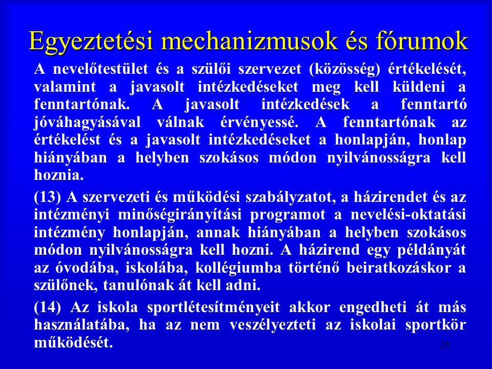 25 Egyeztetési mechanizmusok és fórumok A nevelőtestület és a szülői szervezet (közösség) értékelését, valamint a javasolt intézkedéseket meg kell kül