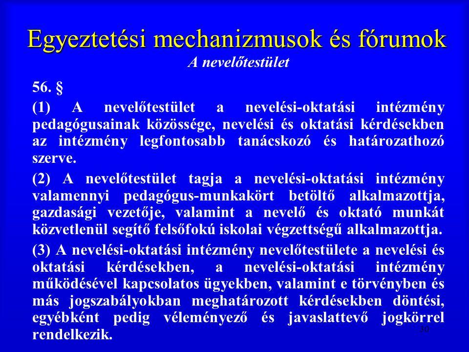 30 Egyeztetési mechanizmusok és fórumok A nevelőtestület 56. § (1) A nevelőtestület a nevelési-oktatási intézmény pedagógusainak közössége, nevelési é