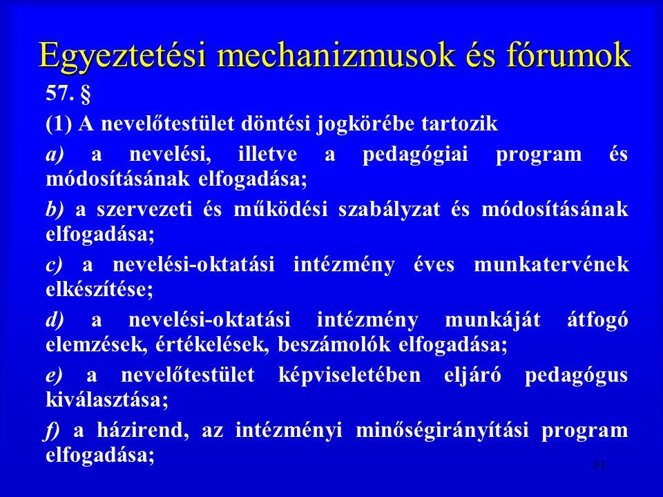 31 Egyeztetési mechanizmusok és fórumok 57. § (1) A nevelőtestület döntési jogkörébe tartozik a) a nevelési, illetve a pedagógiai program és módosítás