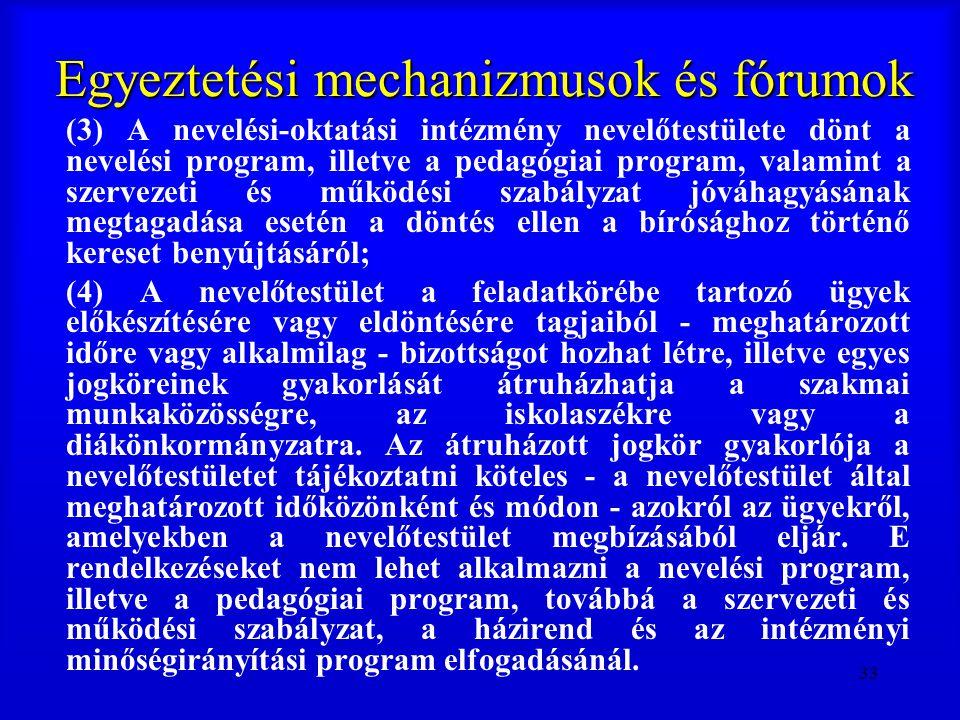 33 Egyeztetési mechanizmusok és fórumok (3) A nevelési-oktatási intézmény nevelőtestülete dönt a nevelési program, illetve a pedagógiai program, valam