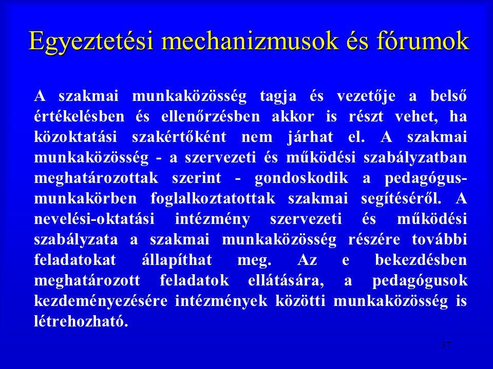 37 Egyeztetési mechanizmusok és fórumok A szakmai munkaközösség tagja és vezetője a belső értékelésben és ellenőrzésben akkor is részt vehet, ha közok