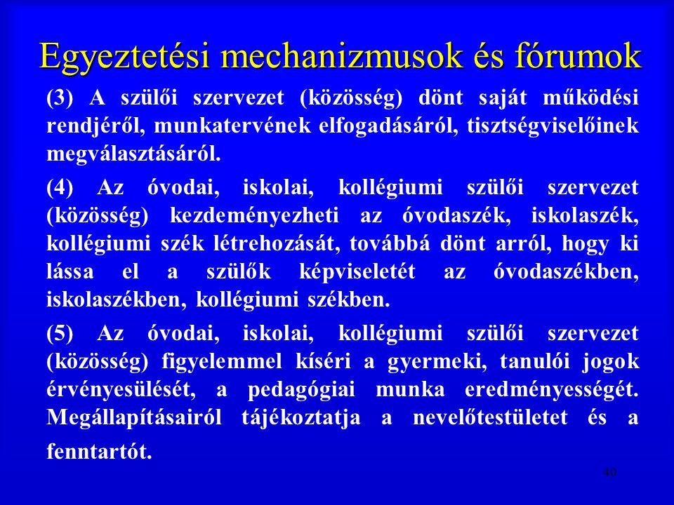 40 Egyeztetési mechanizmusok és fórumok (3) A szülői szervezet (közösség) dönt saját működési rendjéről, munkatervének elfogadásáról, tisztségviselőin