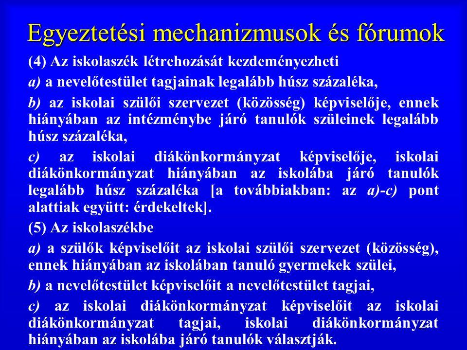 43 Egyeztetési mechanizmusok és fórumok (4) Az iskolaszék létrehozását kezdeményezheti a) a nevelőtestület tagjainak legalább húsz százaléka, b) az is