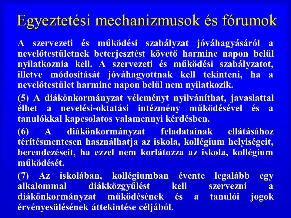 52 Egyeztetési mechanizmusok és fórumok A szervezeti és működési szabályzat jóváhagyásáról a nevelőtestületnek beterjesztést követő harminc napon belü