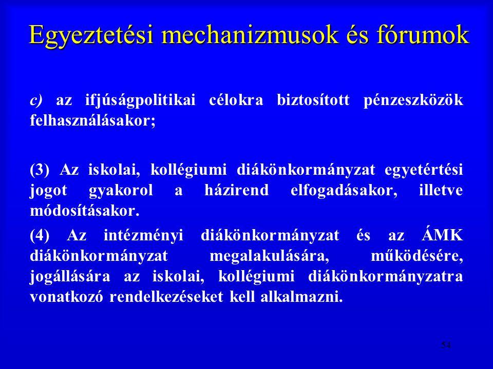 54 Egyeztetési mechanizmusok és fórumok c) az ifjúságpolitikai célokra biztosított pénzeszközök felhasználásakor; (3) Az iskolai, kollégiumi diákönkor