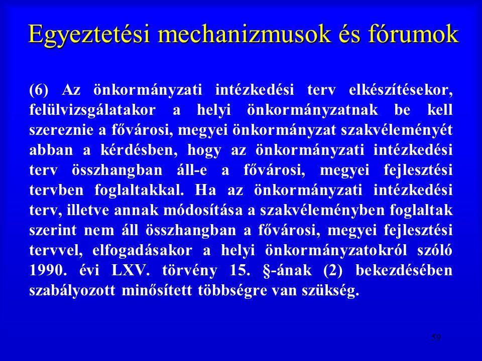 59 Egyeztetési mechanizmusok és fórumok (6) Az önkormányzati intézkedési terv elkészítésekor, felülvizsgálatakor a helyi önkormányzatnak be kell szere